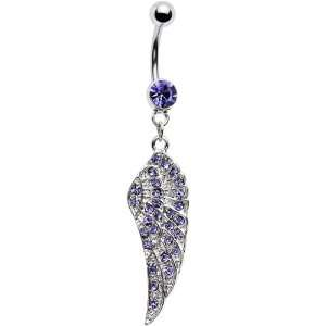 Purple Gem Angel Wing Belly Ring