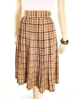 VTG 70s Early EMMANUELLE KHANH Pleated Plaid Wool Skirt w Waist