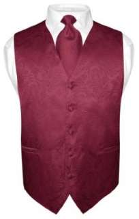 Mens Burgundy Paisley Design Dress Vest and NeckTie Set