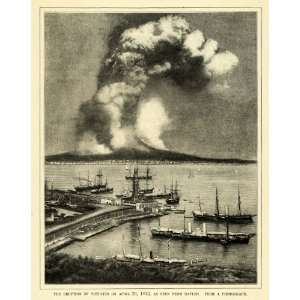 1898 Print Mount Vesuvius 1872 Volcano Eruption Naples
