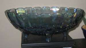 Indiana Glass GARLAND Blue Carnival Grapes Footed Bowl
