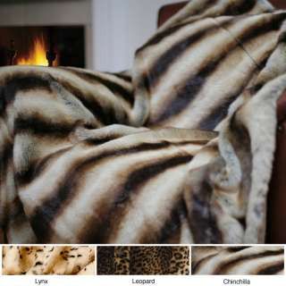 OVERSIZE CHINCHILLA FAUX SOFT PLUSH FUR THROW BLANKET   GORGEOUS  NEW