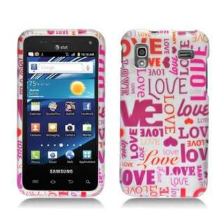 PINK MULTI LOVE DESIGN RUBBER FEEL HARD PLASTIC CASE SAMSUNG CAPTIVATE