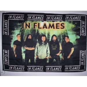 IN FLAMES 5x3 Feet Cloth Textile Fabric Poster