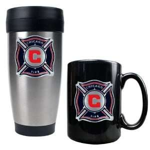 Chicago Fire MLS Stainless Steel Travel Tumbler and Black