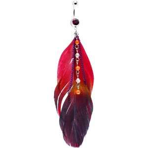 Purple Gem Goddess Feather Drop Belly Ring Jewelry