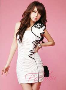 Foryou New Party White sexy one shoulder club dress 08095