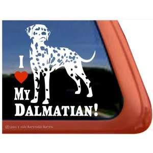I Love My Dalmatian Dog Vinyl Window Decal Sticker
