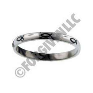 Ichthus Thin Band Stainless Steel Ring