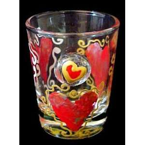Hearts of Fire Design   Hand Painted   Collectible Shot
