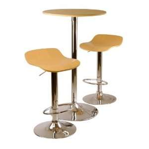 Kallie 3 pc Pub Table and Stools Set in Natural Furniture