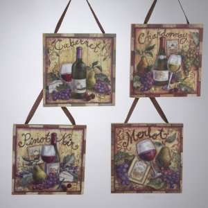 Club Pack of 12 Tuscan Winery Wooden Wine Plaque Christmas