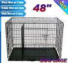 NEW 2 Doors 48 Large Folding Metal Pet Dog Crate Cage Kennel With