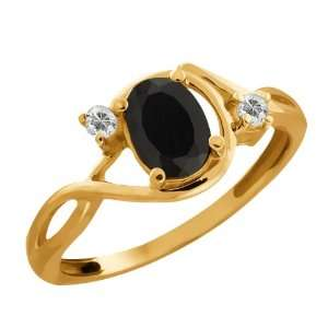 76 Ct Oval Black Onyx and White Topaz 10k Yellow Gold Ring Jewelry