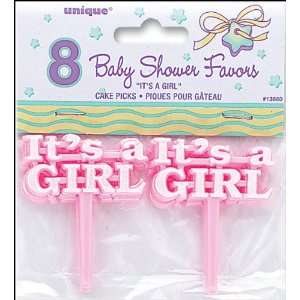 Pink/Its A Girl Baby Shower Picks 2.5 8/Pkg Unique
