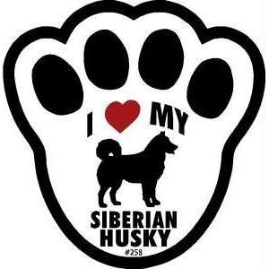 I Love My Siberian Husky Pawprint Window Decal w/Suction