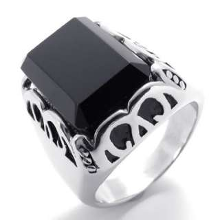 Mens Vintage Black Silver Stainless Steel Ring US Size 7,8,9,10,11,12