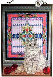 NEW PAINTED STAINED ART GLASS WHITE PERSIAN CATS PANEL