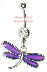 CUSTOM MOOD DRAGONFLY DANGLE BELLY RING CHANGES COLOR