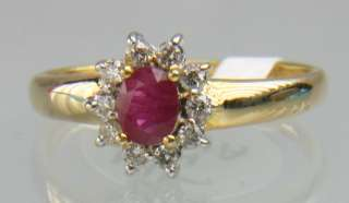 CLASSIC LADIES 14K SOLID GOLD DIAMOND & RUBY RING