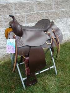 16 DOUBLE T WESTERN GAITED TRAIL HORSE SADDLE DARK OIL