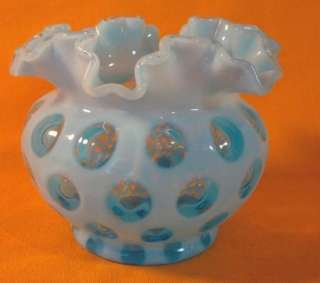FENTON BLUE OPALESCENT COIN DOT FLUTED VASE