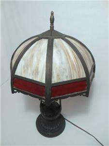 Crafts 16 Panel w/ Red Slag Glass Bradley & Hubbard Table Lamp