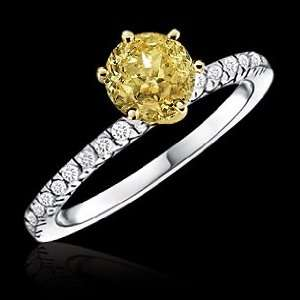 1.51 carat yellow canary diamond engagement ring gold