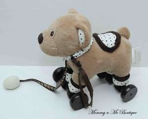 Piccolochic Tan Bear Plush Baby Toy on Wheels