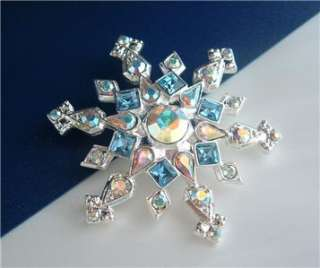 Rhinestone Winter Christmas SNOWFLAKE Pendant Brooch Blue Pink Clear