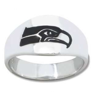 Seahawks Mens Sterling Silver Cigar Band Ring