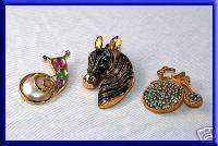 PIN +Gold Tone Snail/Tricycle/Blue Rhinestones/Brooch Costume Jewelry