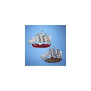 Club Pack of 12 Wooden Barque Sailing Ship Christmas Ornaments 5