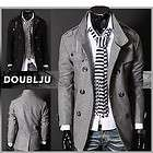 Happy lighter Mens Casual Double PEA Wool Half Trench Coat (868)