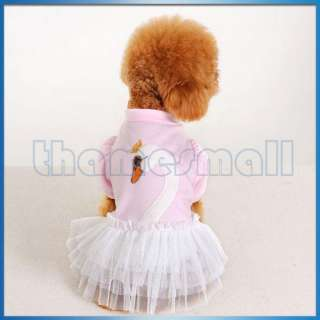 Pet Dog Ruffle Tulle Skirt Dress Apparel Clothing w/ Cute Swan Pattern