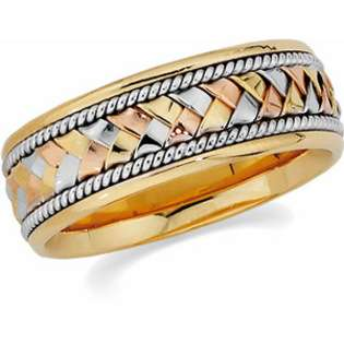 14K Yellow/White/Rose Gold Tri Color Hand Woven Wedding Band Ring For
