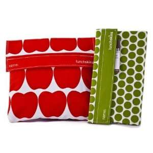 Lunchskins Sandwich Bag (in Red Apple) and Snack Bag (in Green Polka