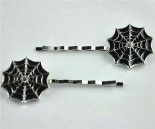 SPIDER WEB HAIR CLIPS BOBBY PINS HORROR GOTH 80s PUNK