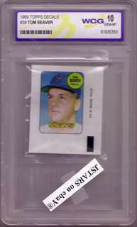 1969 TOM SEAVER, NEW YORK METS BASEBALL TEAM, TOPPS DECALS # 38 GRADED