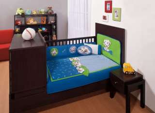 New Baby Boy Blue Green Little Dog Crib Bedding Set 6pc
