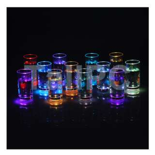 x12Pcs Water Activated Color Change Flash Light LED Glass Cup For Bar
