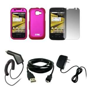 EMPIRE Hot Pink Rubberized Snap On Cover Case + Screen