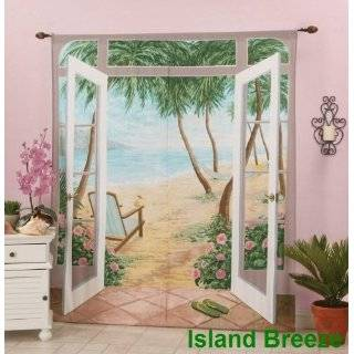 Layer Modern Palm Tree Beige / Sage Green Tropical Curtain Set with