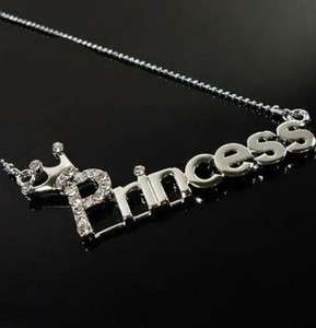 Korean Style Cute Crown Princess Word Crystal Necklace