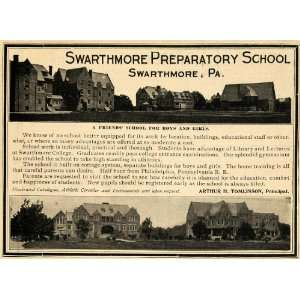 1903 Ad Swarthmore Preparatory School College Education