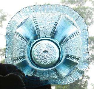 CONTEMPORY ICE BLUE CARNIVAL GLASS HOLLY PANEL WHIMSEY HAT