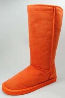 Womens Flat Winter Snow Suede Boots Shoes Orange New