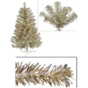 New   3 Pre Lit Champagne Artificial Tinsel Christmas