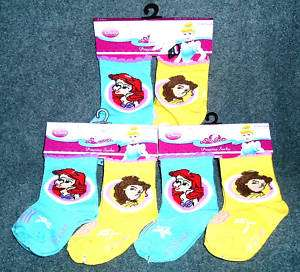 NEW DISNEY PRINCESS ARIEL BELL BABY GIRL SOCKS 6 PAIRS