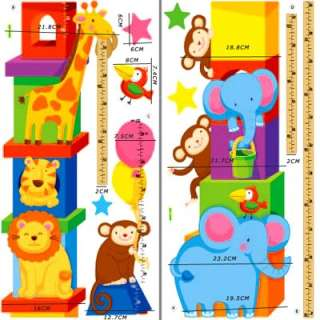 Cute ANIMALS home wall kids Stature Height Decor Stickers decals
